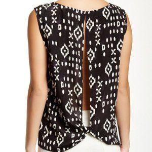 NWT Pam & Gela Black white silk open back blouse S